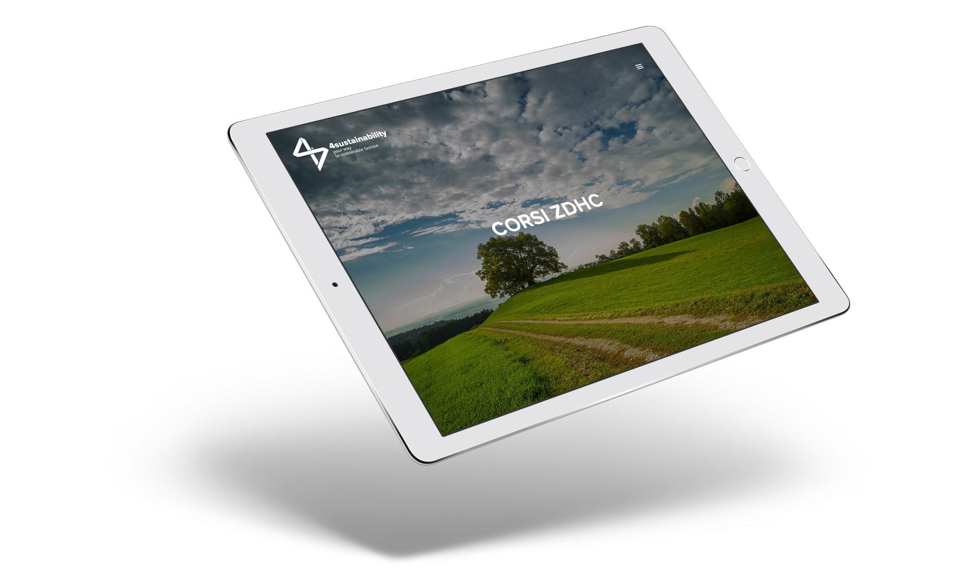 Immagine su tablet del sito 4sustainability realizzato da MirabolaMente