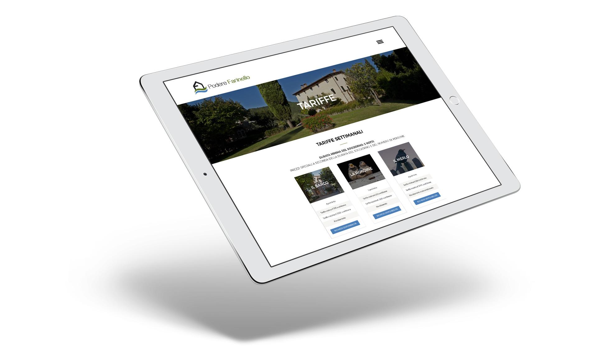 Immagine su tablet del sito di Podere Farinello realizzato da MirabolaMente